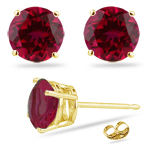 3.25 Cts of 7 mm AA Round Synthetic Ruby Stud Earrings in 14K Yellow Gold