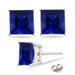 1.10 Cts of 4.5 mm AA Princess Created Blue Sapphire Stud Earrings in Sterling Silver