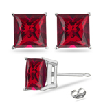 1.10 Cts of 4.5 mm AA Princess Created Ruby Stud Earrings in Sterling Silver
