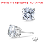 8 mm Genuine Bling CZ Hearts and Arrows Cut Round Single Mens Earring in Sterling Silver