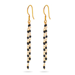 1.20 Cts Black Diamond Square Bead Briolette Earrings in 18K Yellow Gold
