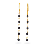 3.20 Cts Black Diamond Double Side Beads Earrings in 18K Yellow Gold