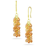 18.10 Cts Multi Sapphire Briolette Earrings in 18K Yellow Gold - Christmas Sale