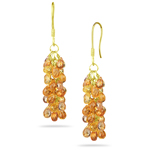 25.00 Cts Mandarin Garnet Briolette Earrings in 18K Yellow Gold