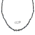 12.00 Cts Grey Diamond Rough Bead Necklace Strand in Silver