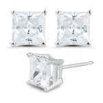 4.5 mm Genuine Bling CZ Hearts and Arrows Cut Princess Earrings in Sterling Silver