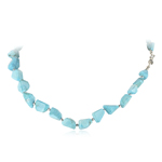 220.00 Cts Natural Turquoise Necklace with Silver Balls & Silver Clasp