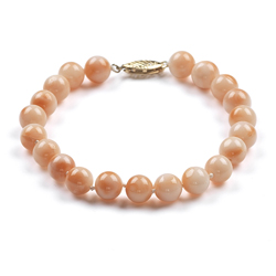 53.00 Cts of 7-7.5 mm Natural Pink Coral (not Dyed) Bracelet in 14K Yellow Gold