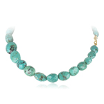 300.00 Cts AAA Beads Natural Turquoise (not Dyed) Necklace in 18K Yellow Gold