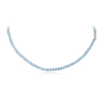 72.00 Cts of 4 mm AA Faceted Beads Swiss Blue Topaz Necklace in Silver