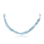 123.00 Cts AA Briolettes Swiss Blue Topaz Necklace in Silver