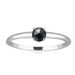 1/4 Cts of 3.7-3.9 mm A Round Rose Cut Black Diamond Solitaire Ring in 14K White Gold