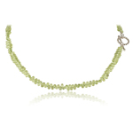 110.00 Cts Faceted Briolettes AA Peridot Necklace in Sterling Silver