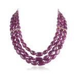 1766.00 Cts Beads AA Natural Ruby Necklace in 14K Yellow Gold