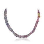 331.00 Cts Faceted Beads AA Multi Color Sapphire Necklace in 18K Yellow Gold