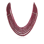 879.00 Cts Beads AA Ruby Necklace in 18K Yellow Gold
