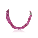 738.00 Cts Faceted Beads AA Ruby Necklace in 18K White Gold