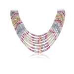 594.00 Cts Faceted Beads AA Multi Sapphire Necklace in 18K Yellow Gold