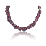 849.00 Cts Faceted Beads AA Multi Sapphire Necklace in 18K White Gold