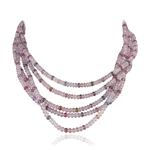 712.00 Cts Faceted Beads AA Multi Color Natural Sapphire Necklace in 18K White Gold