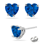 4.20-4.85 Cts of 8 mm AAA Heart Created Blue Sapphire Stud Earrings in 14K White Gold