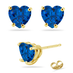 4.20 Cts of 8 mm AAA Heart Created Blue Sapphire Stud Earrings in 14K Yellow Gold
