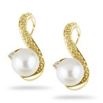 Diamond and Fresh Water Pearl Earrings
