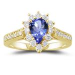 0.44 Cts Diamond & 0.75 Cts Tanzanite Ring in 18K Yellow Gold