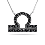0.42 Cts Black Diamond Libra Zodiac Pendant in Silver