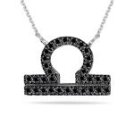 0.42 Cts Black Diamond Libra Zodiac Pendant in Silver
