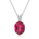 5x3 mm Oval AA Ruby Scroll Pendant in Platinum