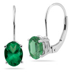 Oval Natural Emerald Lever Back Earrings
