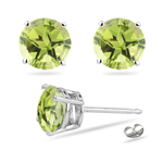 3.10 Cts of 7 mm AA Texas Star Peridot Stud Earrings in 14K White Gold