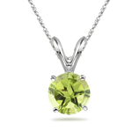 2.08 Cts of 8 mm AA Texas Star Peridot Solitaire Pendant in 14K White Gold