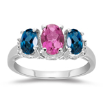 0.02 Cts Diamond, 0.81 Cts AAA Pink Tourmaline & 1.23 Cts AAA London Blue Topaz Three Stone Ring in 14K White Gold