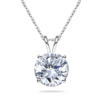 2.50 Cts of 8 mm Cubic Zirconia Hearts and Arrows Ideal Cut Round Solitaire Pendant in 10K White Gold