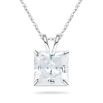 1.25 Cts of 5 mm Cubic Zirconia Hearts and Arrows Ideal Cut Princess Solitaire Pendant in 10K White Gold