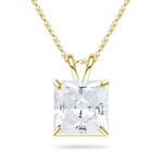 1.25 Cts of 5 mm Cubic Zirconia Hearts and Arrows Ideal Cut Princess Solitaire Pendant in 10K Yellow Gold