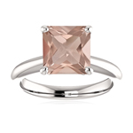 1.50-1.85 Cts of 7 mm AAA Princess Comfort Fit Morganite Solitaire Ring in 14K White Gold