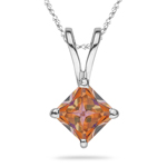 1.25-1.50 Cts of AA 6 mm Princess Azotic Ecstasy Topaz Solitaire Pendant in 14K White Gold