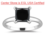 1.16 Cts of 5.47x5.20x4.10 mm AAA Princess EGL USA Certified Black Diamond Solitaire Ring in Platinum