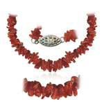 52.00 Cts Red Coral Not Dyed Bead Necklace in Silver