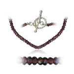 69.00 Cts Faceted Garnet Bead Necklace in Sterling Silver