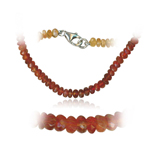 46.00 Cts Faceted Mexican Opal Shaded Bead Necklace in Sterling Silver