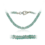 38.00 Cts Faceted Apatite Bead Necklace in Sterling Silver