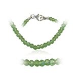52.00 Cts Faceted Peridot Bead Necklace in Sterling Silver