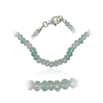 48.00 Cts Faceted Aqua Mexican Bead Necklace in Sterling Silver