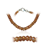77.00 Cts Faceted Spessartite Bead Necklace in Sterling Silver
