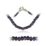 35.00 Cts Faceted Amethyst Bead Necklace in Sterling Silver