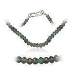 50.00 Cts Faceted Labadorite Bead Necklace in Sterling Silver